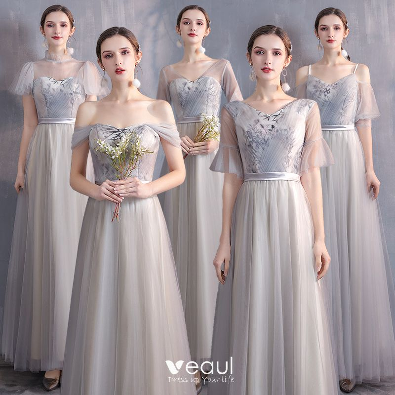 Affordable Champagne Grey Bridesmaid Dresses 2020 A Line Princess Appliques Lace Sash Floor Length Long Ruffle,Formal Dress For Winter Wedding