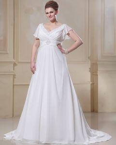 Chiffon Rüschen Perlen V-ausschnitt In Übergröße Hochzeitskleid Brautkleider