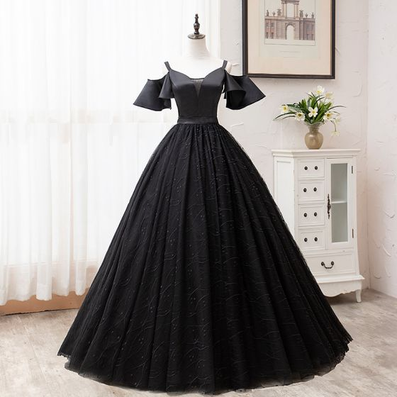 Modest / Simple Solid Color Black Prom Dresses 2019 A-Line / Princess Spaghetti Straps Short Sleeve Backless Lace Floor-Length / Long Formal Dresses