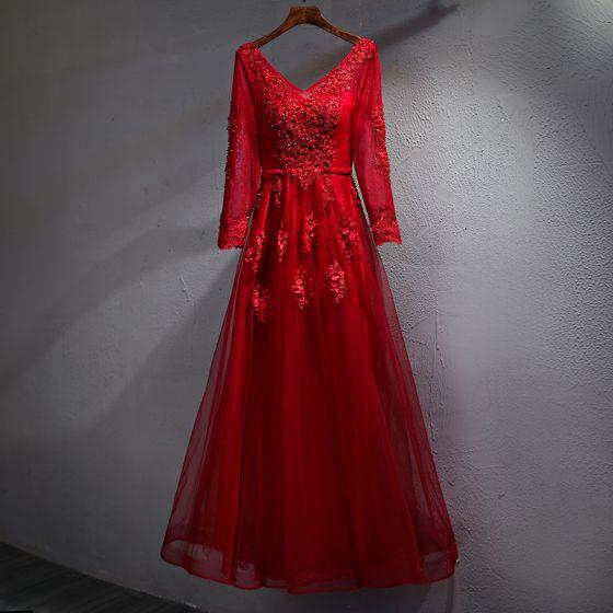 Piękne Burgund Sukienki Wieczorowe 2017 Princessa Z Koronki Kryształ Szarfa Bez Pleców V-Szyja Długie Rękawy Długość Kostki Sukienki Wizytowe