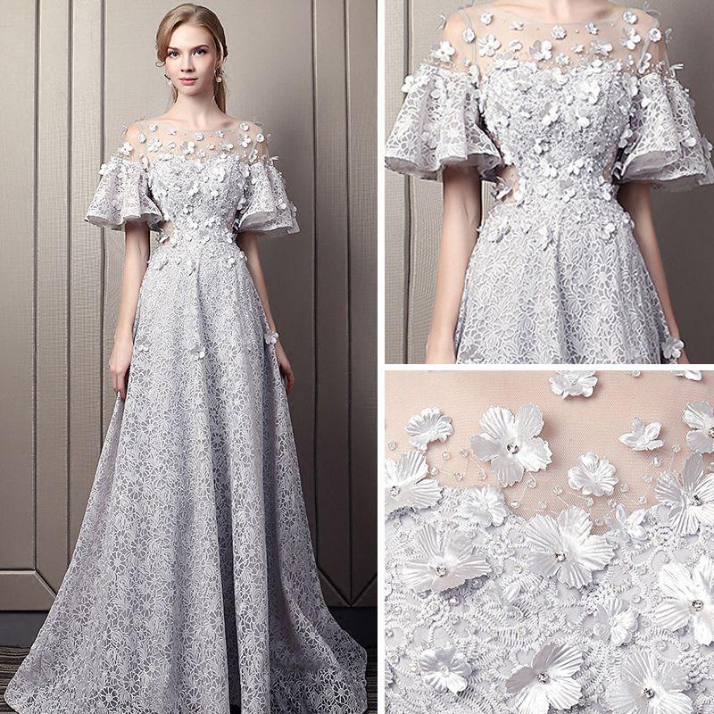 Modern / Fashion Grey Pierced Evening Dresses  2018 Empire Scoop Neck 1/2 Sleeves Appliques Flower Rhinestone Court Train Ruffle Backless Formal Dresses