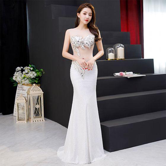 Sexy Ivory See-through Evening Dresses  2019 Trumpet / Mermaid Scoop Neck Sleeveless Rhinestone Sequins Sweep Train Ruffle Formal Dresses