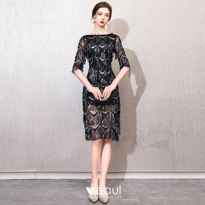 Chic Beautiful Black Evening Dresses 2019 Lace Sequins Beading Tassel Square Neckline 12 Sleeves Short Formal Dresses