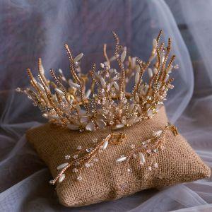 Luxe Goud Bruidssieraden 2019 Metaal Kralen Parel Rhinestone Tiara Oorbellen Huwelijk Accessoires