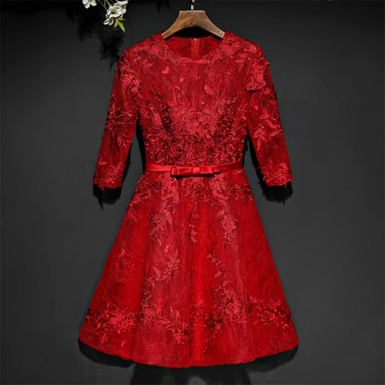 Chic / Beautiful Red Formal Dresses Evening Dresses  2017 Lace Flower Bow Scoop Neck 1/2 Sleeves Short A-Line / Princess