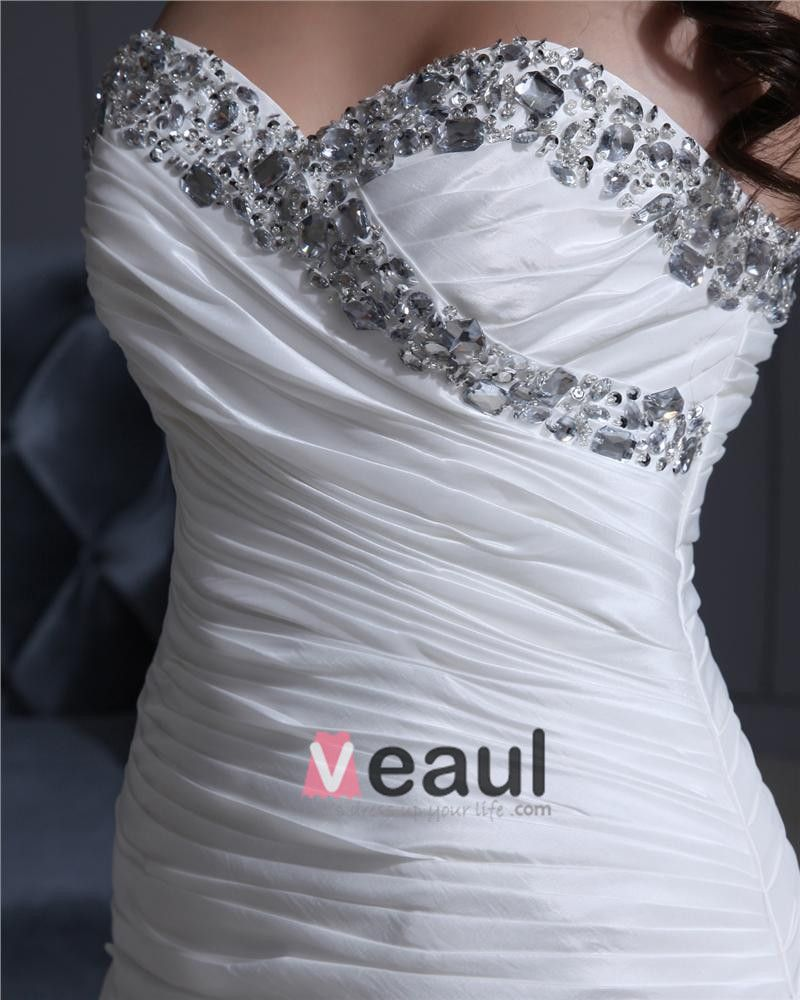 Sweetheart Floor Length Beading Pleated Taffeta Cathedral Train A-Line Wedding Dress