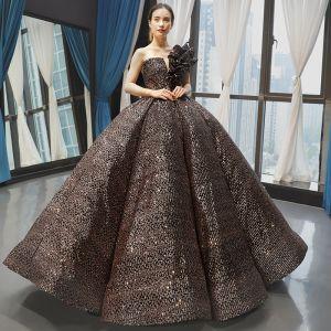 Błyszczące Czarne Złote Cekiny Taniec Sukienki Na Bal 2020 Suknia Balowa Jedno Ramię Bez Rękawów Długie Wzburzyć Bez Pleców Sukienki Wizytowe