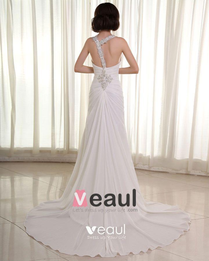 Chiffon Satin Ruffles Applique V-Neck Cathedral Length Sheath Wedding Dresses