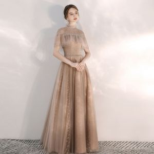 Vintage / Retro Champagne Evening Dresses  2020 A-Line / Princess See-through High Neck Short Sleeve Beading Crystal Floor-Length / Long Backless Formal Dresses