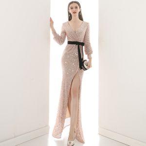 Sparkly Champagne Sequins Evening Dresses  2020 Trumpet / Mermaid V-Neck Puffy Long Sleeve Sash Split Front Floor-Length / Long Formal Dresses