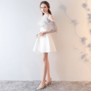 Classic Graduation Dresses White 2017 Zipper Up Embroidered Printing Lace Stretch Satin Scoop Neck Sleeveless Homecoming