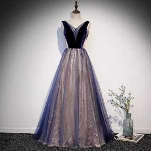Chic / Beautiful Royal Blue See-through Prom Dresses 2020 A-Line / Princess V-Neck Sleeveless Glitter Tulle Floor-Length / Long Ruffle Backless Formal Dresses