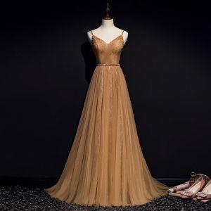 Piękne Złote Sukienki Wieczorowe 2019 Princessa Spaghetti Pasy Frezowanie Perła Cekiny Bez Rękawów Bez Pleców Długie Sukienki Wizytowe