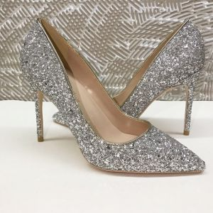 Sparkly Sølv Selskabs Pumps 2020 Pailletter 12 cm Stiletter Spidse Tå Pumps