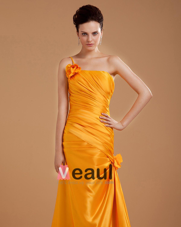 One Shoulder Flower Floor Length Mothers of Bride Guests Dresses