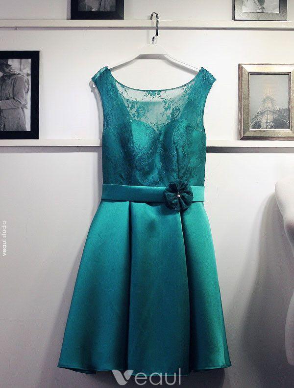 Simple Bridesmaid Dresses Jade Satin Dress For Wedding With Flower Sash