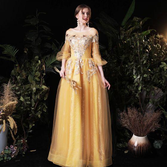 Viktorianischer Stil Gold Abendkleider 2020 A Linie Durchsichtige Eckiger Ausschnitt Geschwollenes 3/4 Ärmel Applikationen Spitze Pailletten Lange Rüschen Rückenfreies Festliche Kleider