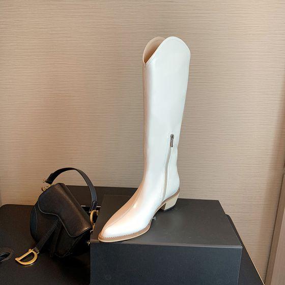Mode Weiß Strassenmode Stiefel Damen 2020 5 cm Thick Heels Spitzschuh Stiefel