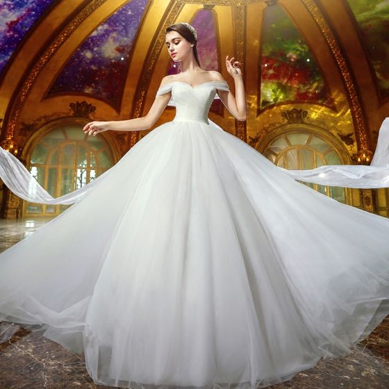 Modest / Simple Ivory Organza Wedding Dresses 2019 Ball Gown Off-The-Shoulder Short Sleeve Backless Court Train Ruffle