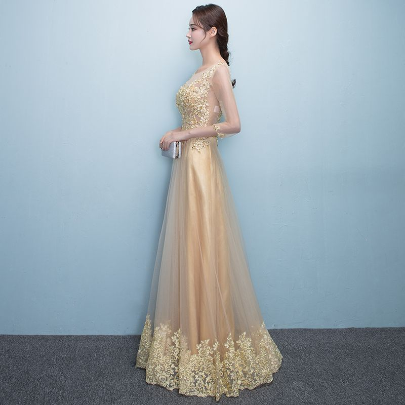 Chic / Beautiful Formal Dresses 2017 Evening Dresses  Gold A-Line / Princess Floor-Length / Long Scoop Neck Long Sleeve Sash Lace Appliques Pearl Sequins
