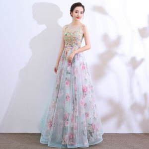 Flower Fairy Pool Blue Prom Dresses 2018 A-Line / Princess See-through Scoop Neck Sleeveless Appliques Lace Printing Flower Tulle Floor-Length / Long Ruffle Backless Formal Dresses