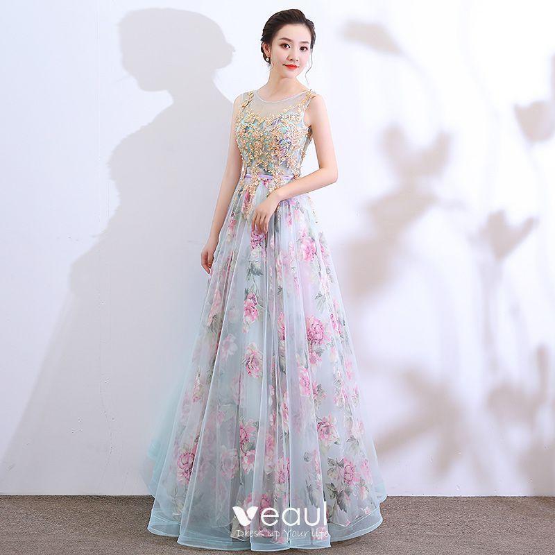 07fe52569e5 Flower Fairy Pool Blue Prom Dresses 2018 A-Line   Princess See-through  Scoop Neck Sleeveless Appliques ...
