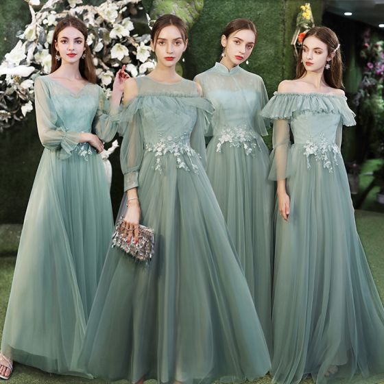 Modest / Simple Mint Green Bridesmaid Dresses 2021 A-Line / Princess Scoop Neck Lace Flower 1/2 Sleeves Backless Floor-Length / Long Tulle Wedding Party Dresses