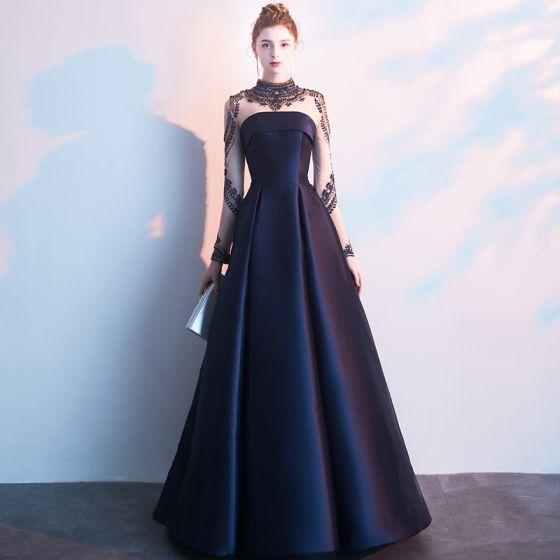 Vintage Granatowe Sukienki Wieczorowe 2019 Princessa Wysokiej Szyi Frezowanie Kryształ Długie Rękawy Długie Sukienki Wizytowe