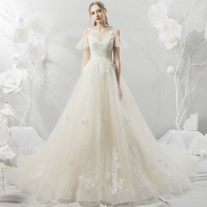 Affordable Champagne See-through Wedding Dresses 2018 A-Line / Princess Scoop Neck Short Sleeve Backless Sequins Appliques Lace Chapel Train Ruffle