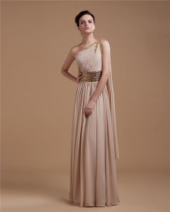 Chiffon Ruffle Beading Sloping Floor Length Prom Dresses