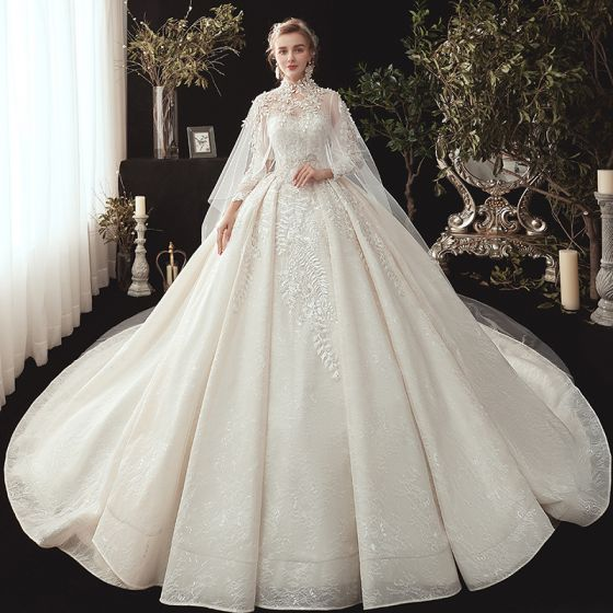 Fairytale Champagne See-through Wedding Dresses With Cloak 2020 Ball Gown High Neck 3/4 Sleeve Backless Appliques Lace Beading Watteau Train Ruffle