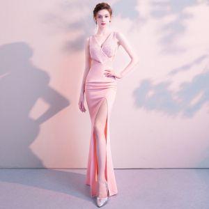 Moderne / Mode Sexy Rose Bonbon Longue Robe De Soirée 2018 Trompette / Sirène V-Cou Charmeuse Dos Nu Perlage Faux Diamant Robe De Ceremonie