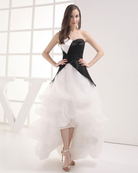 Fashion Imitation Silk Organza Ruffle Sweetheart Asymmetrical Celebrity Prom Dress