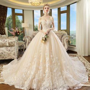 Piękne Szampan Suknie Ślubne 2018 Suknia Balowa Przy Ramieniu Kótkie Rękawy Bez Pleców Aplikacje Z Koronki Perła Cekinami Tiulowe Trenem Katedra Wzburzyć