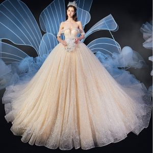 Elegant Champagne Wedding Dresses 2020 Ball Gown Off-The-Shoulder Short Sleeve Backless Beading Glitter Tulle Cathedral Train Ruffle