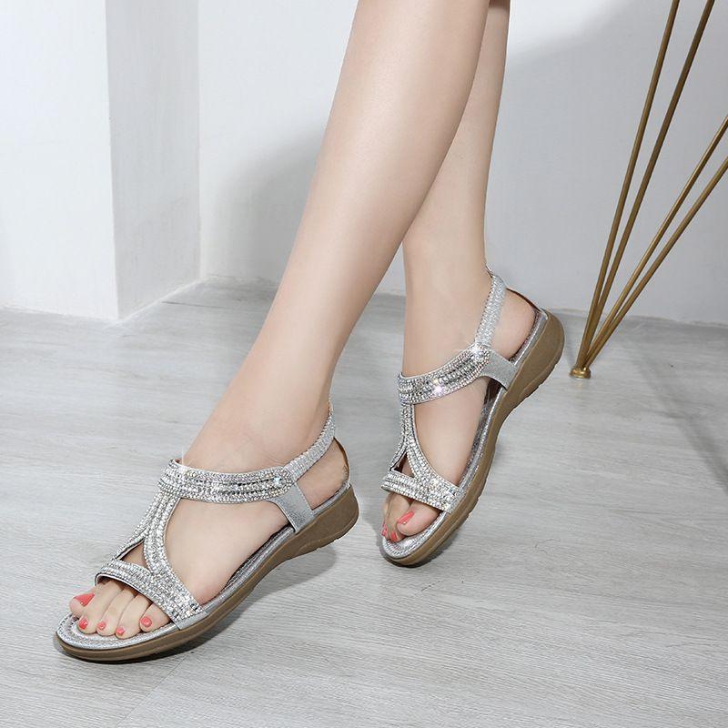 Chic / Beautiful Black Casual Womens Sandals 2020 Polyester Rhinestone Open / Peep Toe Platform Sandals