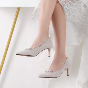 Chic / Beautiful Silver Wedding Shoes 2019 6 cm Polyester Beading Rhinestone Stiletto Heels Heels Pointed Toe Wedding High Heels