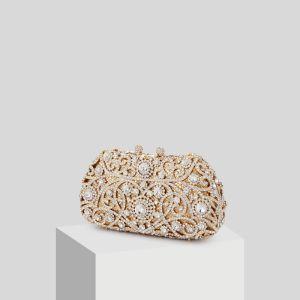 Sparkly Gold Glitter Rhinestone Clutch Bags 2019