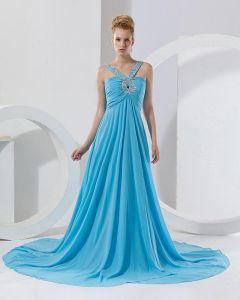 En Mousseline A Volants Perles Col En V Etage Robe De Bal Celebrite De Longueur