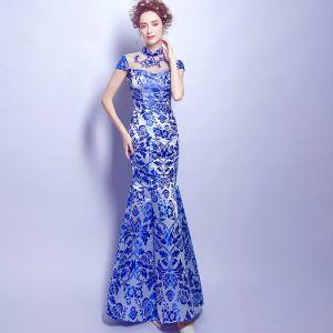 Style Chinois Bleu Roi Longue Robe De Soirée 2018 Trompette / Sirène Col Haut Charmeuse Appliques Dos Nu Impression Soirée Robe De Ceremonie