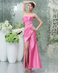 Mode A-ligne De Perles Volants Etage Longueur Robe De Soirée En Soie Sans Bretelles