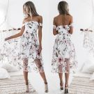Modern Witte Afspraak Maxi-jurken 2018 A lijn Het Drukken Uit De Schouder Korte Mouwen Tea-length Dameskleding