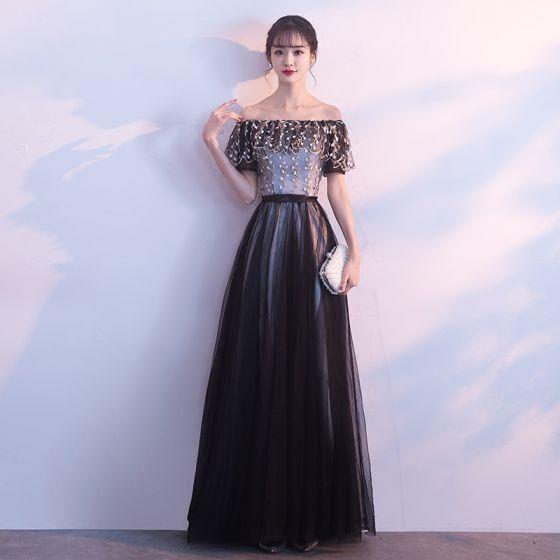 Hermoso Negro Vestidos de gala 2017 A-Line / Princess Sin Tirantes Tul Apliques Sin Espalda Noche Vestidos Formales