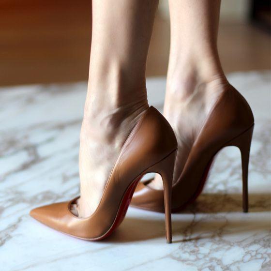 Moderne / Mode Marron Désinvolte Chaussures Femmes 2018 Cuir 12 cm Talons Aiguilles À Bout Pointu Escarpins