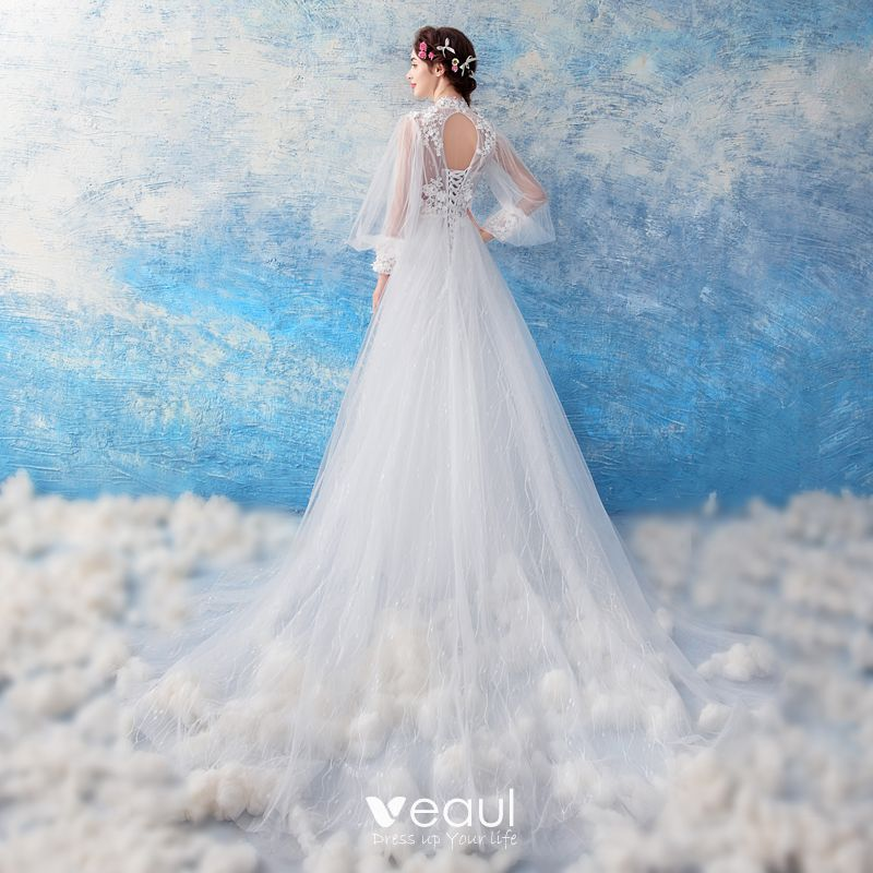 Trumpet Wedding Dresses 2019: Affordable White See-through Wedding Dresses 2019 Trumpet