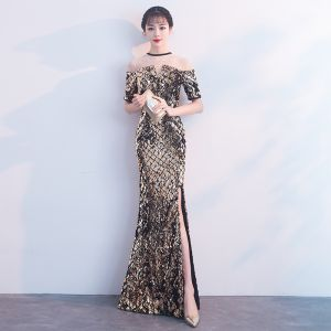 Sparkly Black Gold Evening Dresses  2018 Trumpet / Mermaid Sequins Rhinestone Scoop Neck Short Sleeve Floor-Length / Long Formal Dresses