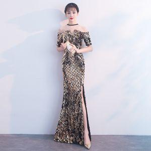 Sparkly Black Gold Evening Dresses  2018 Trumpet / Mermaid Sequins Rhinestone Scoop Neck Short Sleeve Floor-Length / Long Formal Dresses