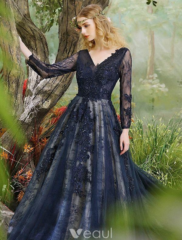 Glamorous Prom Dresses 2017 V-neck Applique Lace & Sequins Dark Navy Long Dress