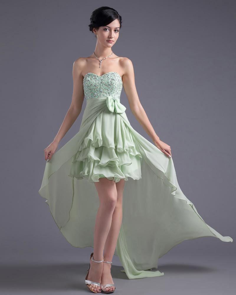 Longueur Sweetheart Asymetrique Volants Perles Robe De Cocktail Bas Haute En Mousseline De Soie Bowknot