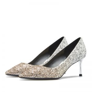 Sparkly Silver Evening Party Pumps 2019 Leather Sequins 6 cm Stiletto Heels Pointed Toe Pumps